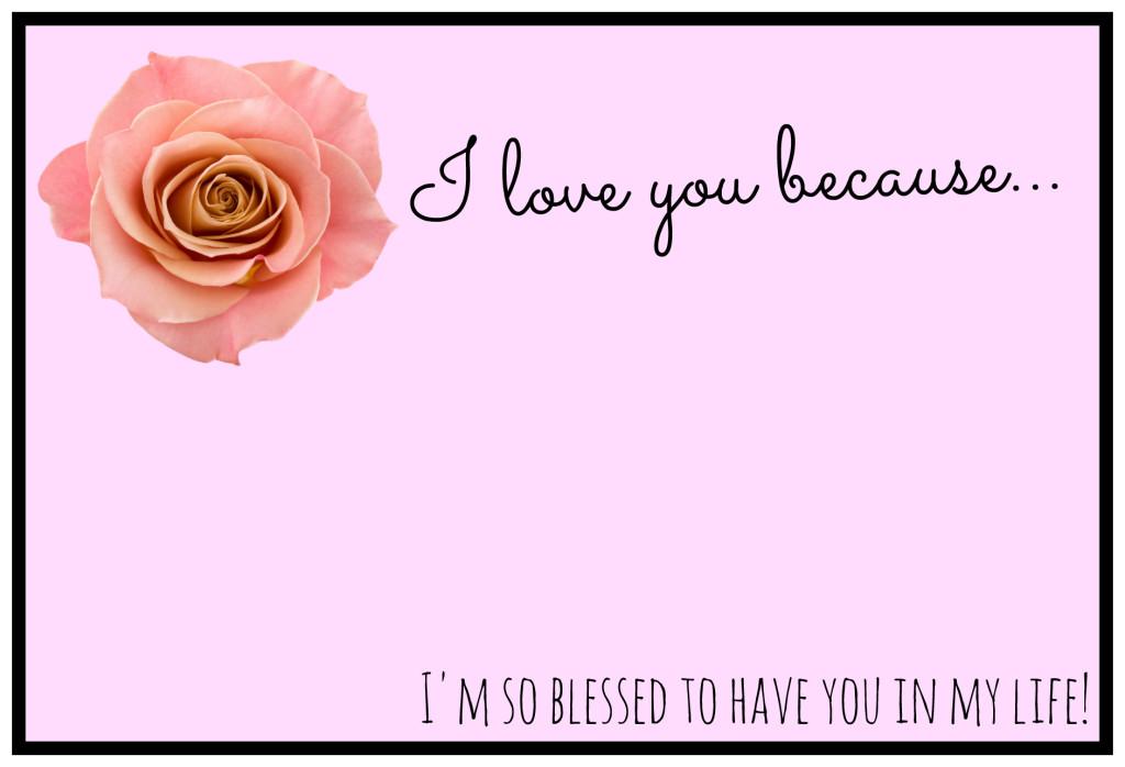 I love you because valentine postcard